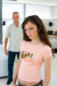 Daughter angry with her father.
