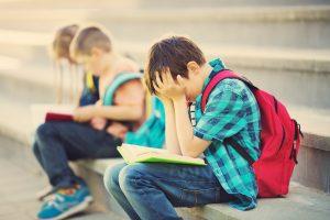 children on school stairs