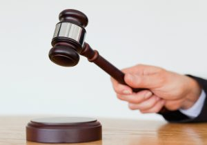 Gavel in judge's hand